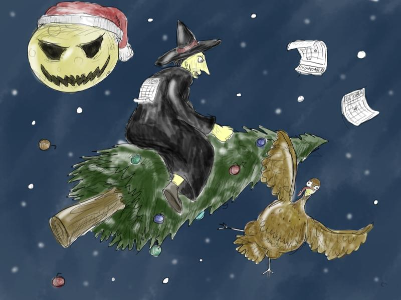 The evil witch rides the magic christmas tree trying to shake off the thanksgiving turkey, all while the santa clause moon laughs at their silliness.