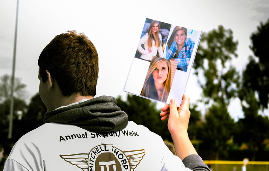 A participant at last year's Mitchell Thorp Foundation Hearts for Hope Walk/Run supports CHS cheerleader Rebecca Edgin who died of Leukemia April 16, 2013.  The Mitchell Thorp Foundation supports families whose children suffer from life-threatening illnesses.