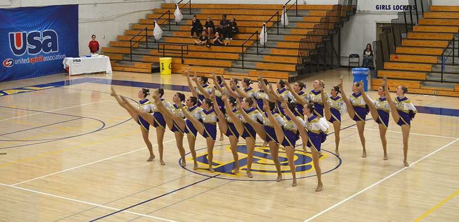 Xcallibur preforms in a regional competition. They won first place in both pom and jazz categories. (Photo courtesy by Dorinda K)