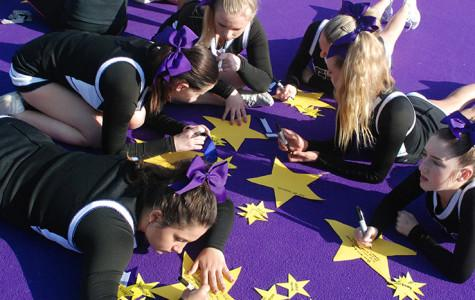 For teacher appreciation, cheerleaders are putting gold stars on teachers doors. At the basketball game on Feb. 21 the cheerleaders are recognizing the teachers.