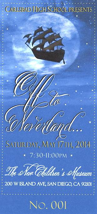 The ASB prom ticket reveals a Peter Pan theme. Prom will be at The New Childrens Museum on May 17th.