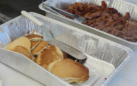 Pancakes and bacon were served at the St. Patrick's Day brunch. The food was a huge hit among attendees.