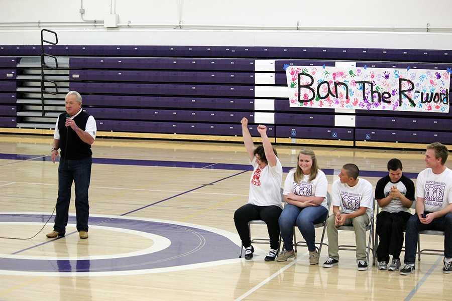 Ex-Padres player Randy Jones spoke at the Ban the R word Assembly held in the old gym on Thursday Apr.24.  Not only did Best Buddies have cool giveaways like a Polaroid Camera, but they also provided everyone with Lola's burritos!