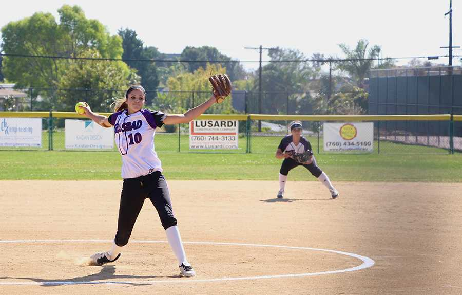 Junior Juliana McDonald is the starting pitcher for the girls softball team.  McDonald has been on varsity for three years and continues to prove her talents. The girls beat San Marcos in their game on monday 14-2.
