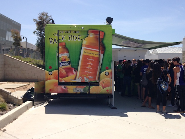 On Thursday, a Naked Juice truck sat in the quad giving out free samples of juice to students.  The Best Buddies annual Ban the R-Word assembly took place on Thursday to raise awareness for those with mental illnesses. The Naked truck along with other food trucks were present to support the club.