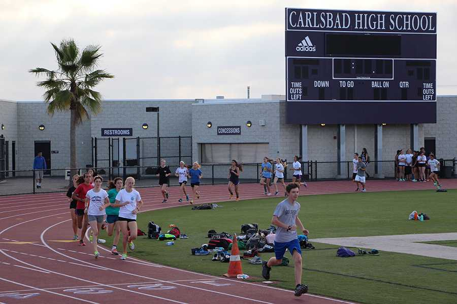 Track team practices after school every day to get better and take down their opponents. Even though track lost a lot of seniors last year, they are looking forward to another good year.