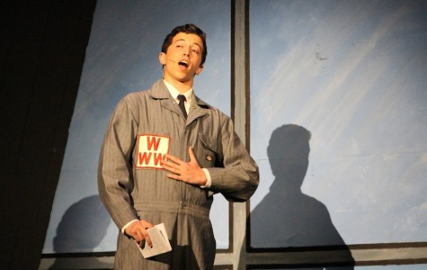 Junior Max DeLoach performs his opening scene in the Spring musical How to Succeed in Business Without Really Trying.  DeLoach was selected as one of the finalists to perform in a regional contest and from there perhaps the chance to compete for the