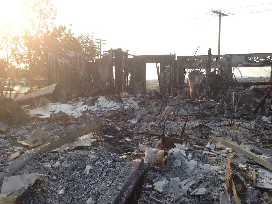 This is what remains of the Gilmore familys house after the Poinsettia fire ravaged their home and the community.   However, the Gilmores have not lost hope and have plans to start rebuilding next year.