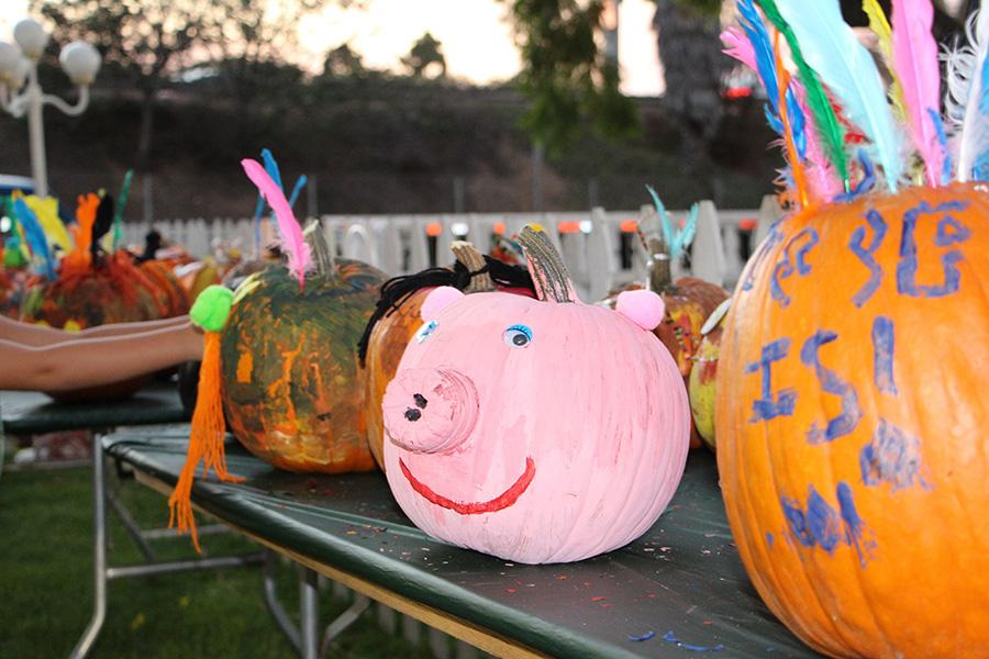A pig-pumpkin smiles at the camera! Kids had the opportunity to decorate pumpkins that were in a display.