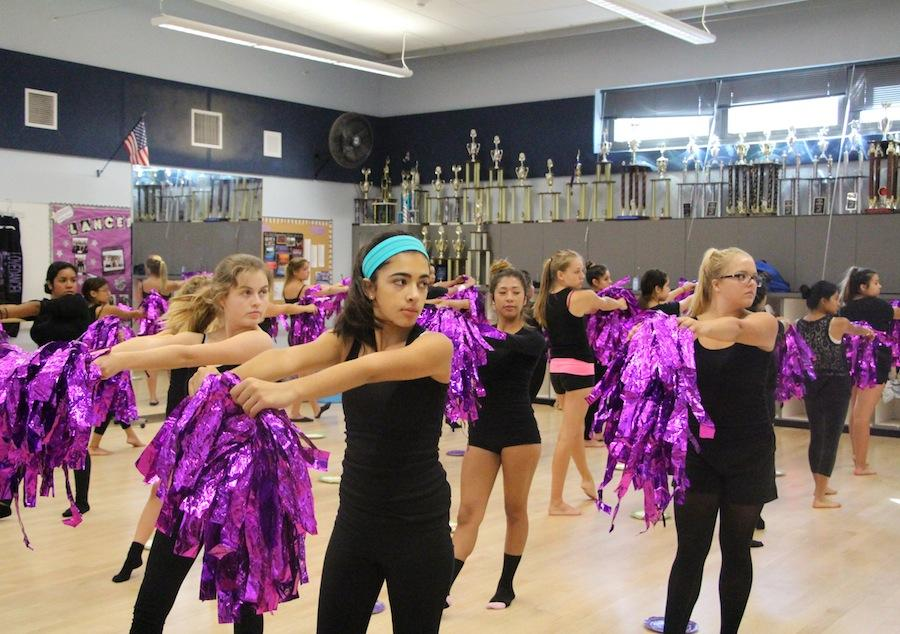 Dance 1 prepares in class for the halftime show during the homecoming game on Sept. 19. All levels in dance will be performing.
