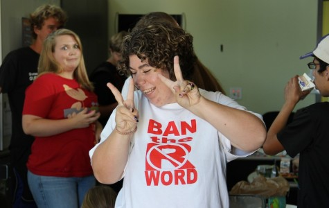 Senior Brianna Staley gets pumped up for Best Buddies' ice cream social during the club's first meeting.  Best Buddies meet every Wednesday in room 4002.