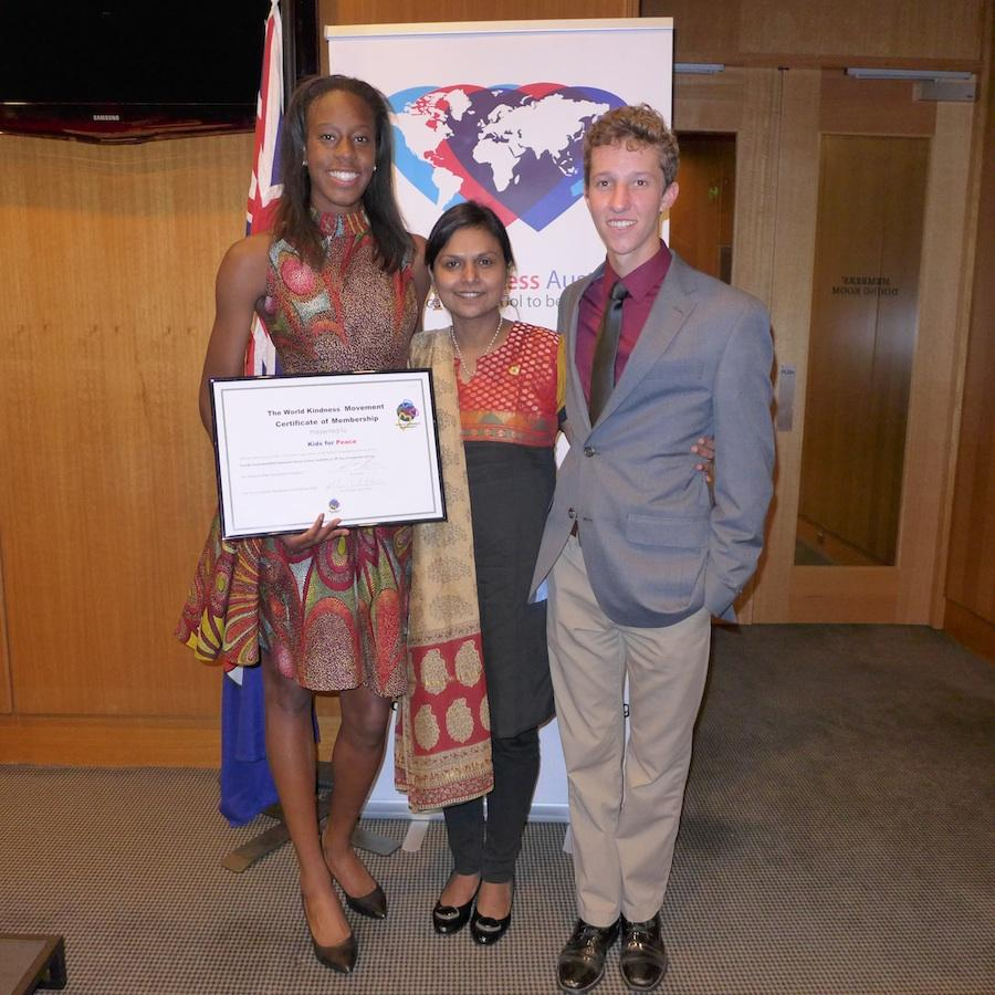 Adoley and Grady pose with the representative from World Kindness India. Here at the Parliament House, Grady gave a speech presenting the work of the Youth Assembly to the General Assembly.