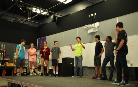 Improv club works on a game where each person must ask another person a question related to a predetermined subject and each person can only answer the question with another question. Improv club plays fun games like this and always has a good time.
