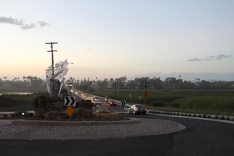 This+roundabout+at+the+border+of+Carlsbad+and+Oceanside+organizes+traffic+flow+and+also+looks+amazing+at+dusk.+As+construction+on+this+roundabout+finishes+it+will+become+a+very+pretty+traffic+coordinator.