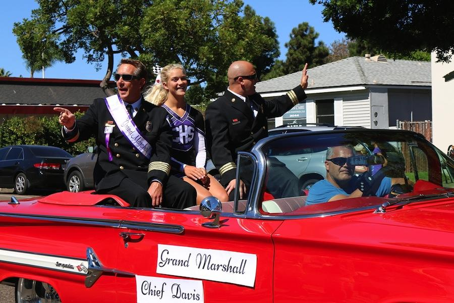 Grand Marshall Chief Davis waves hello to those watching the Lancer Day parade on Fri., Sep. 19.  The Lancer Day parade is a fun experience that has been around for many years.