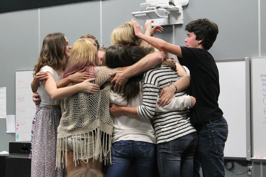 Members of Drama Club participate in a group activity during lunch.  Drama Club meets every Monday at lunch in the CAC.