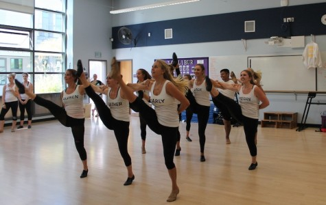 Xcalibur practices their pom dance for the event Oktoberfest. They like to show off their moves to support Carlsbad.