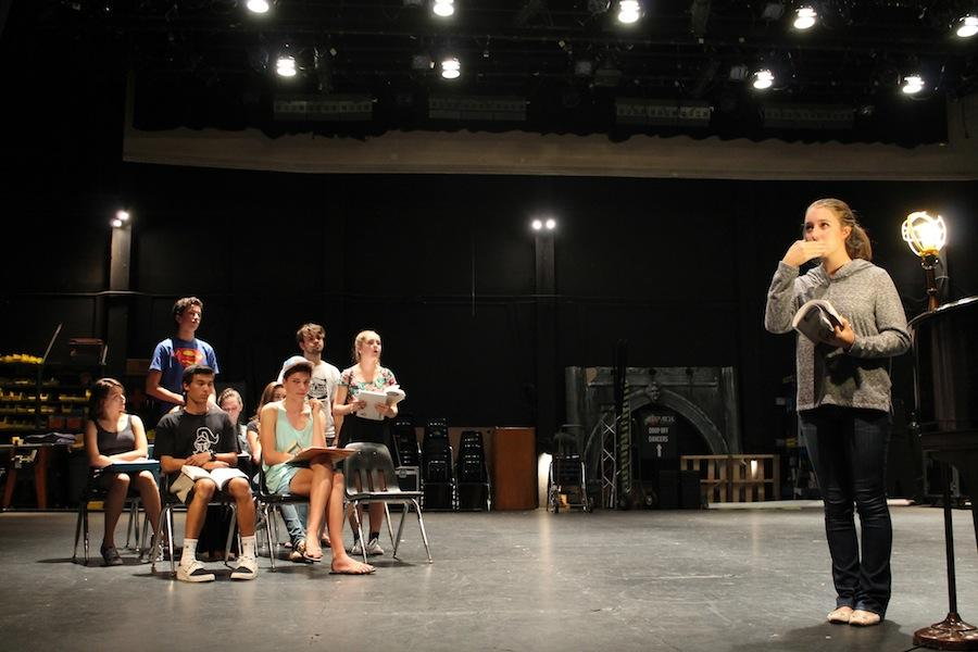"""Senior Talia Cain and the rest of the cast of """"The 25th Annual Putnam County Spelling Bee""""  rehearse afterschool.  The play has showings on November 13, 14 and 15 in the Cultural Arts Center."""