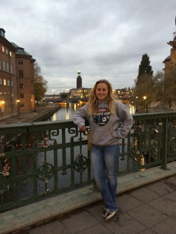 Emma Wenger hangs out with friends in old Stockholm , a touristy place to eat and shop.