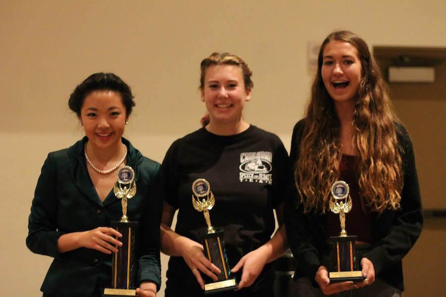 Seniors+Isabelle+Lee%2C+Kitty+Knorr%2C+and+Sarah+Sheets+celebrate+their+victories+in+their+respective+events+at+the+Fullerton+debate.++The+team+as+a+whole+took+home+first+place+at+the+tournament.+