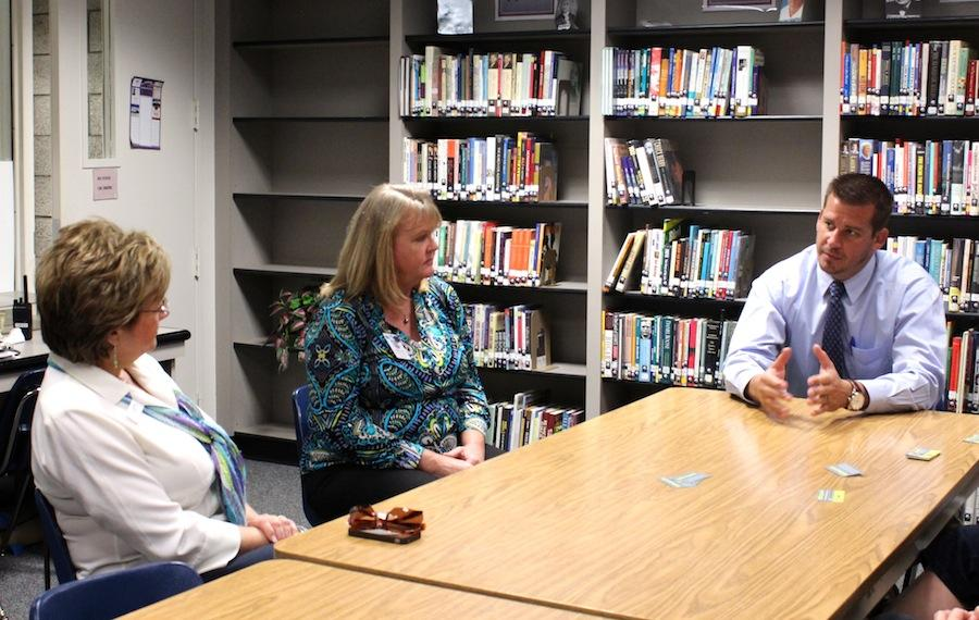 Director of Programs from the Carlsbad Ed Foundation Patty Johnson and the Director of Student Services at the District Office Rosemary Eshelman engage in discussion with Dr.Porter during his first Chatting with CHS on Wednesday, Nov.19.  PTSA  and any other parents of CHS students are welcome to come to these sessions and discuss any news and upcoming events.