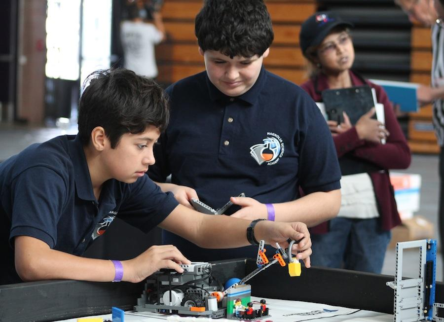 Nov. 15, 2015 Carlsbad High Schools Robotics Club hosted a competition for middle school robotics clubs to compete at. Students build robots to do different task in short amount of time.
