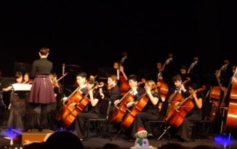 On Mon. Dec.15, history was made when choir and orchestra collaborated and held a combined concert.  The night was filled with cheery, holiday music for all.