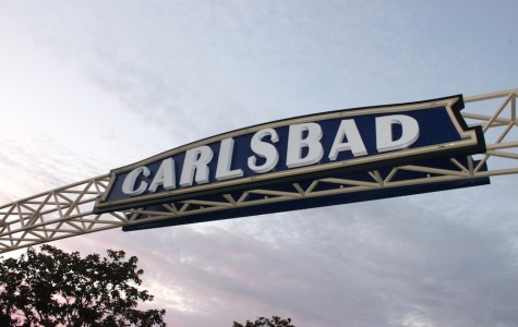 A new sign lights up Carlsbad