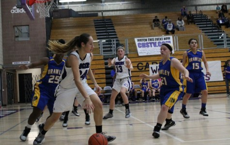 Senior Julia Madrid dribbles  down the court against Brawly High School on Feb. 25, 2015. This is Madrid's fourth year on the varsity team.