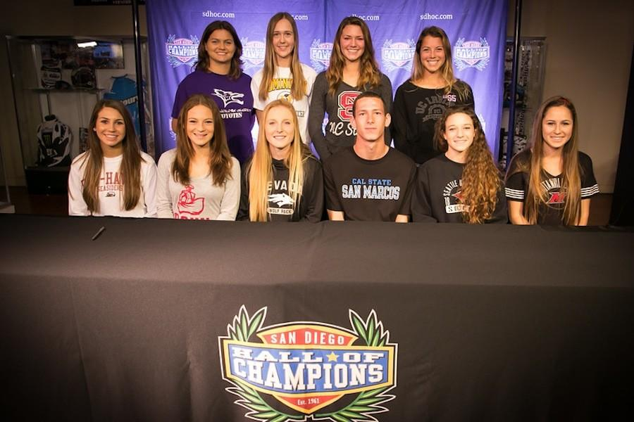 Senior soccer players sign their letters of intent on National Signing Day. The Signing Day events took place at the Hall of Champions in San Diego, where student-athletes from all over the county came together to officially commit to their schools. (Photo courtesy of photobakery.com)