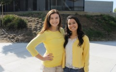 ASB  students, Maria Rojas and Briette Pietrocini, wear yellow on Monday in support of Yellow Ribbon Week. The purpose of this spirit week is to raise suicide awareness and encourage kids to open up to those they trust about any hardships they may be enduring.