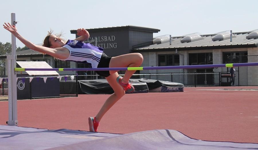 Sophomore Juliana Liebentritt jumps the high  jump, on April 16, 2015.