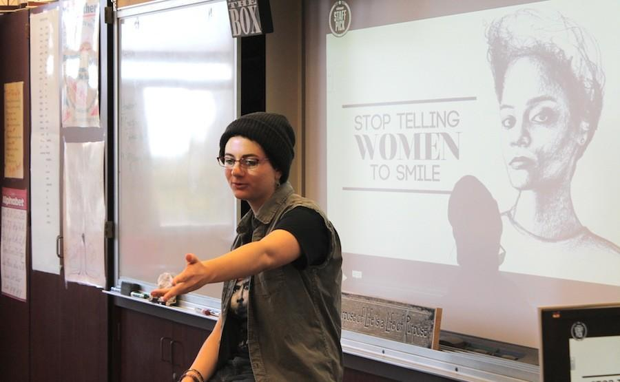 Senior Lane Larson discusses womens issues during Feminist Club. The club meet every thursday in Mrs. Padillas room