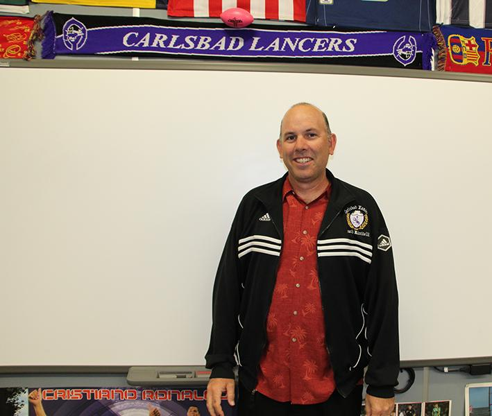 Senior Riccitelli poses for a photo in his Spanish classroom. Riccitelli is very involved on campus; in addition to being the ASB director next year, he will also be the  mens varsity soccer coach and the advisor for Spanish Club.
