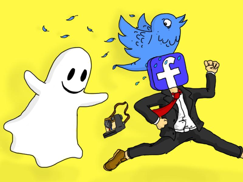 Facebook, Twitter, and Instagram run from Snapchat,s domination and spooky ghostliness.