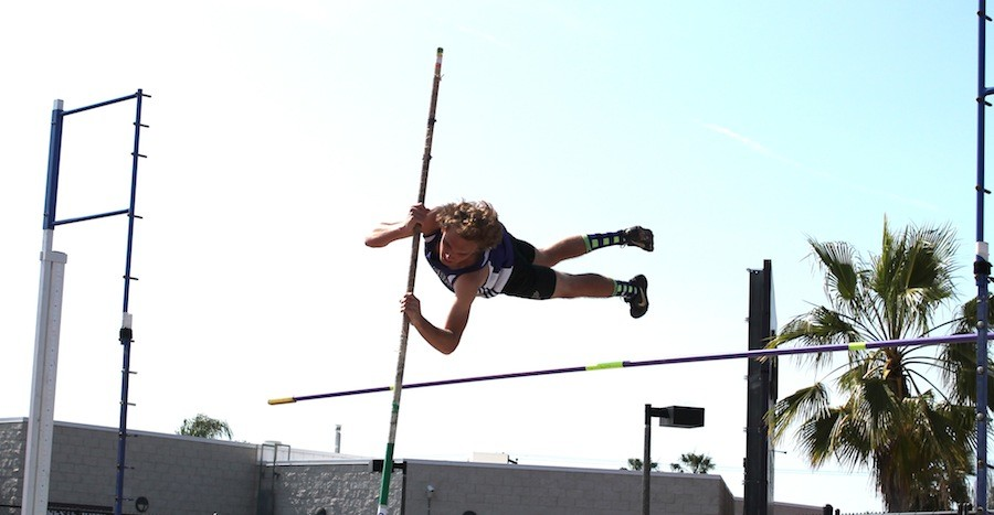 Senior Liam  Adsit jumps jumps the pole volt on April 2, 2015 against La Costa Canyon High School.  The boys Track and Field finished third in league.