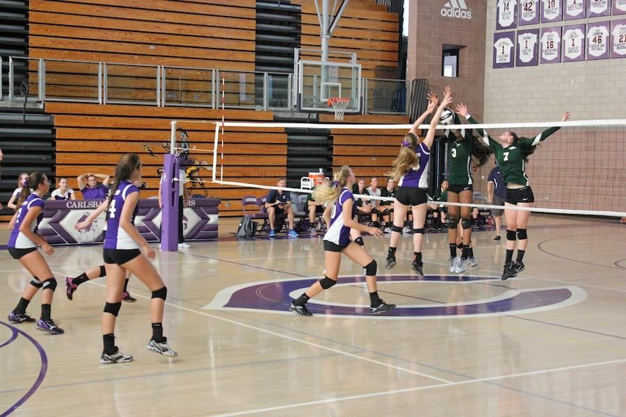 On September 22, varsity girls volleyball went head to head against Del Norte. Saving them from what might have been a point for the opposing team, #18 blocked jumped up and blocked the ball.