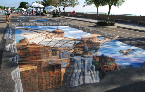 Artists display their talent in chalk drawings. This artist created a 3D piece in order to present a more realistic drawing.