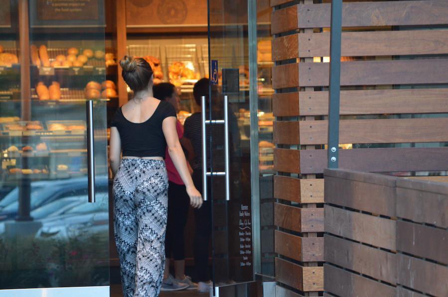 ASB president, Kyra Badiner walks into Panera Bread for ASBs fundraiser.