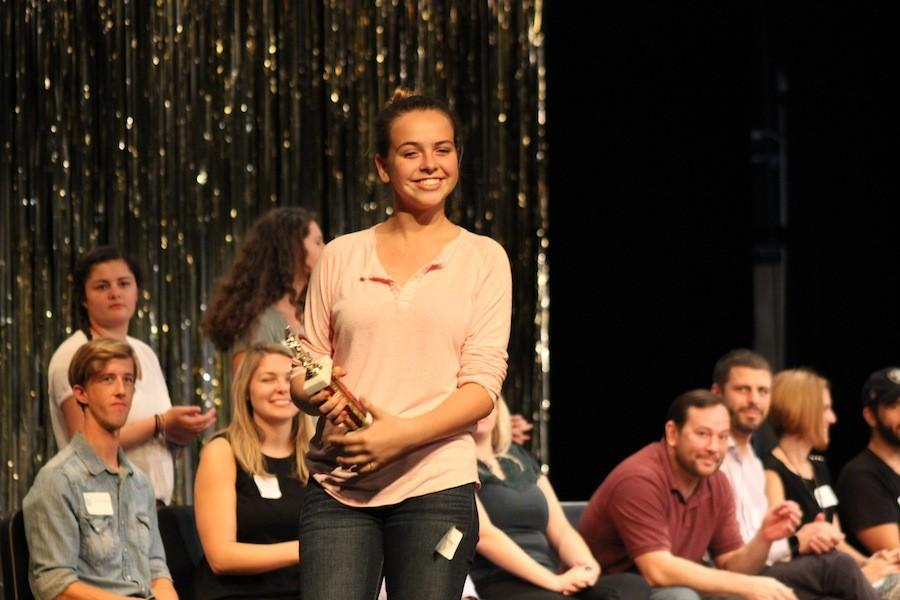 At the theatre festival on Saturday Oct. 24, the theatre kids performed and received feedback from judges. Many won awards for their performances. Alexis Dytko was grinning ear to ear after being awarded for he outstanding performance as Elle in Legally Blonde.