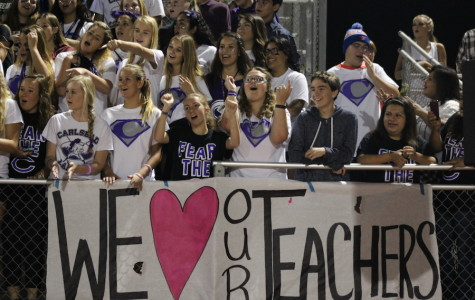 Students of Carlsbad High School celebrate teacher appreciation week at friday night's football game. The Lancers played a good game against the Pirates, the score coming out to 21-6.