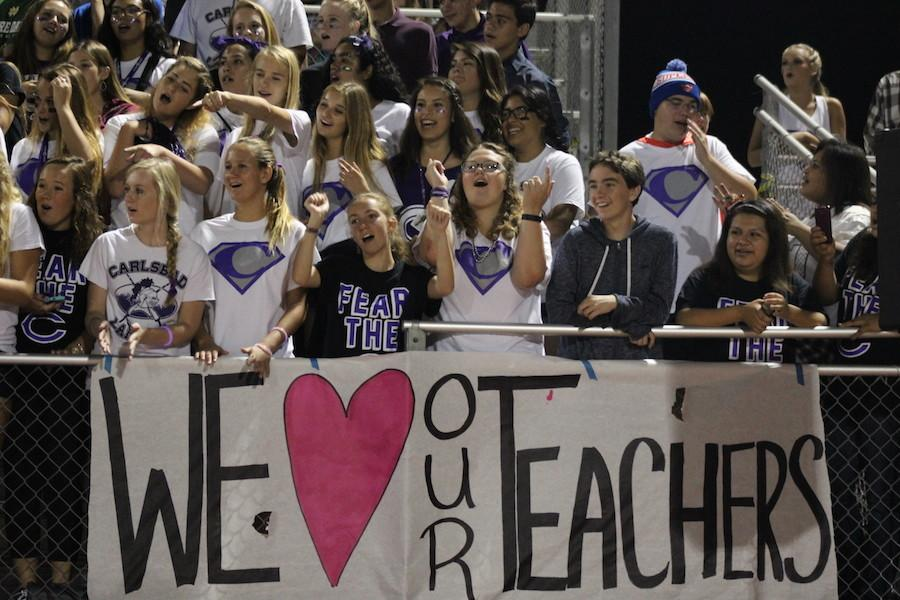 Students of Carlsbad High School celebrate teacher appreciation week at friday nights football game. The Lancers played a good game against the Pirates, the score coming out to 21-6.
