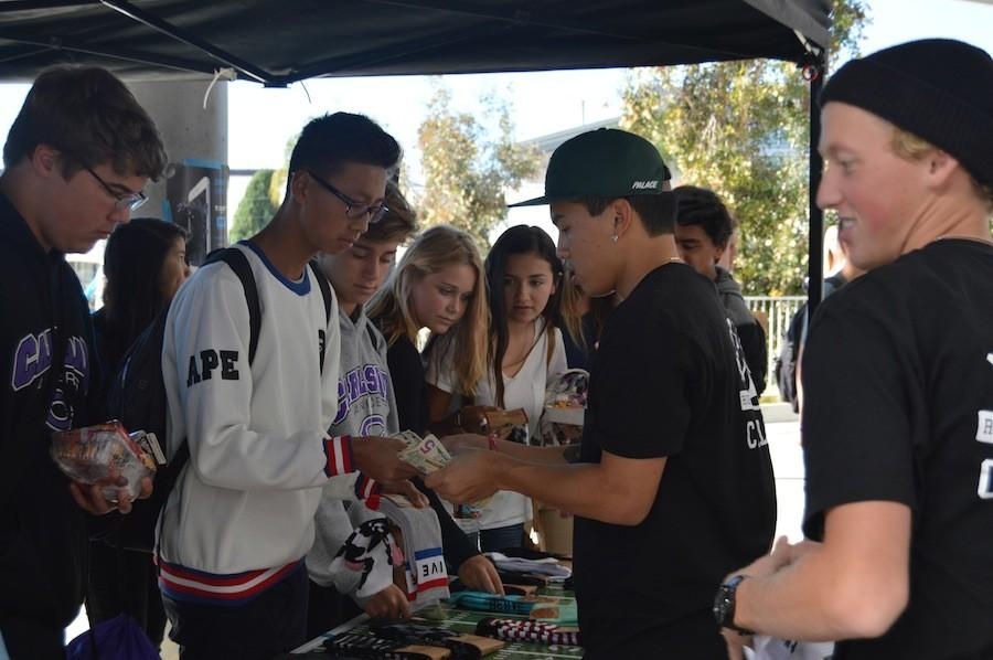 Active Socks came to Carlsbad High School for a fundraiser. Each pair of socks were $7, and Active donated $2 per pair of socks to Carlsbad High School. Students eagerly purchase socks for themselves, or for the upcoming holidays as presents.