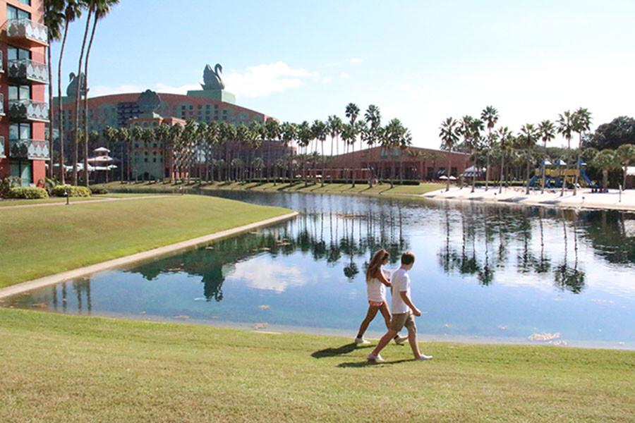 A couple enjoys the magic at Walt Disney World Swan and Dolphin Resort.