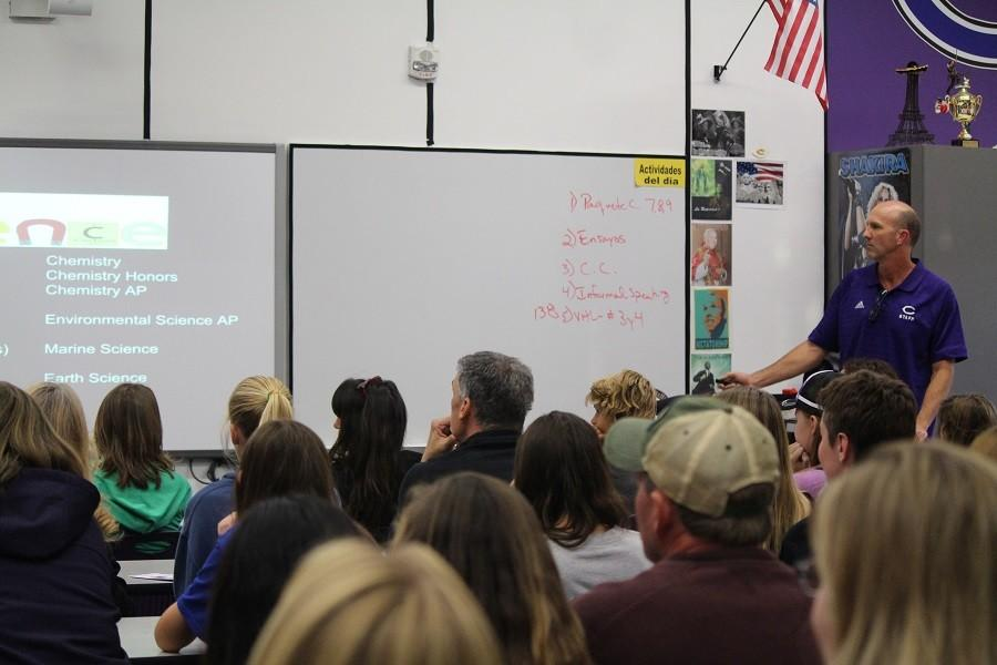 On December 2nd, Carlsbad High hosted a tour for incoming freshman. Mr. Muilenberg began the tour by introducing to the parents and students all that Carlsbad has to offer. Following the introduction was a tour around the campus where Carlsbad students got into detail about their extracurricular activities.