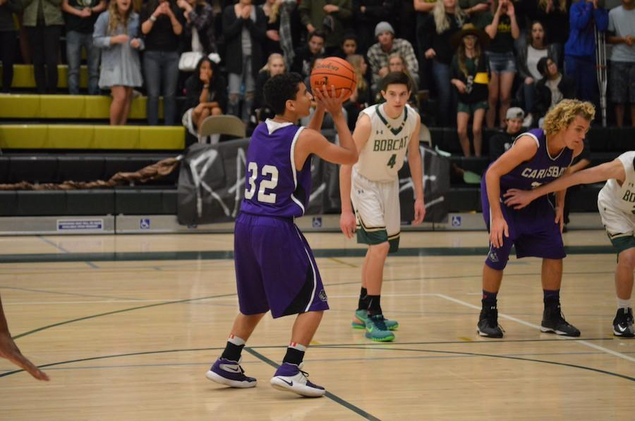 Junior Anthony Anderson lines up for a free throw against Sage Creek last week. The Lancers lost 48-51 to the Bobcats, they hope to finish out this season with a couple wins and a playoff run.