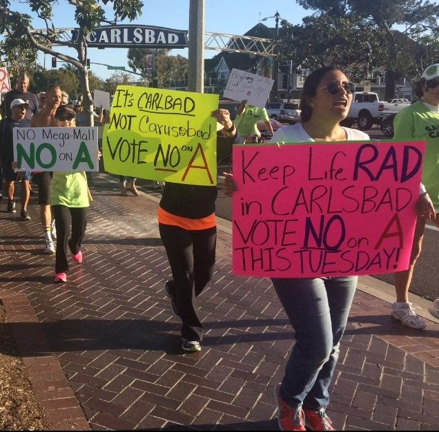 On Sun. Feb 21 there was a 'No on A Peoples parade'. Prop A is about the new mall that could be built on our lagoon. Voting is on Tues. Feb. 23.