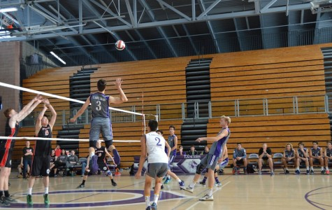 Senior, Braeden Waumans, spikes the ball against Canyon Crest Academy on Tues, Mar. 22. The Lancers dominated Canyon Crest Academy, the score coming out to 3-0.