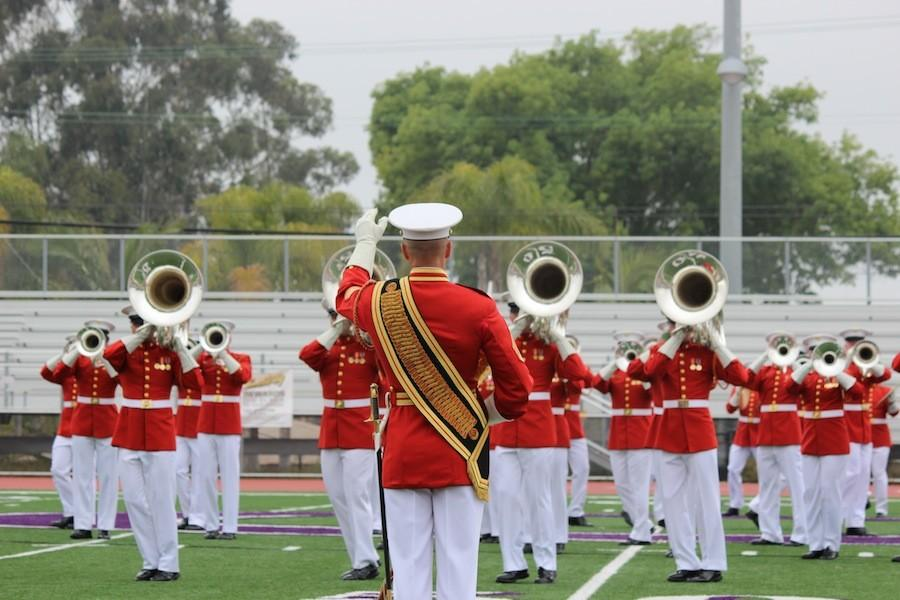 The USMCs Drum and Bugle Corps  open the Battle Color Ceremony for Carlsbad High School  on Mar.11.