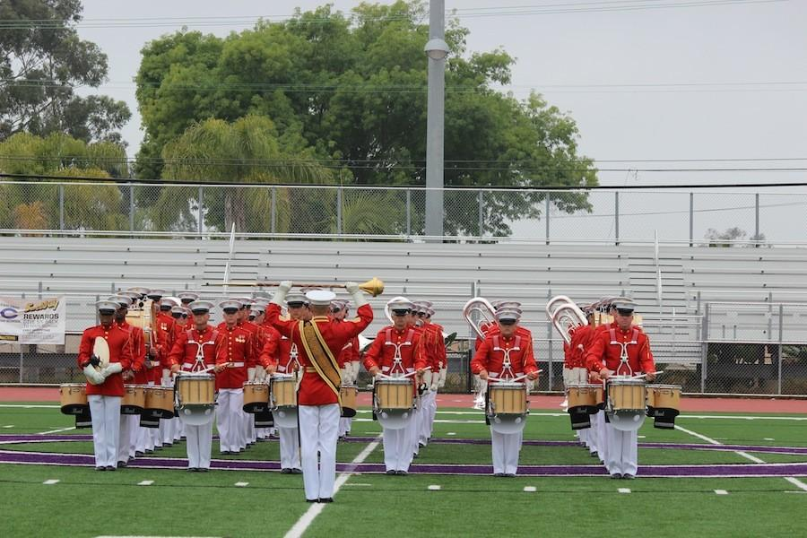 The USMC Commandants  Own travel all around the country preforming for different schools and events.